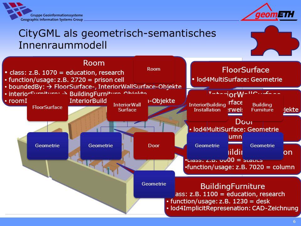 6 CityGML als geometrisch-semantisches Innenraummodell FloorSurface lod4MultiSurface: Geometrie InteriorWallSurface lod4MultiSurface: Geometrie openin