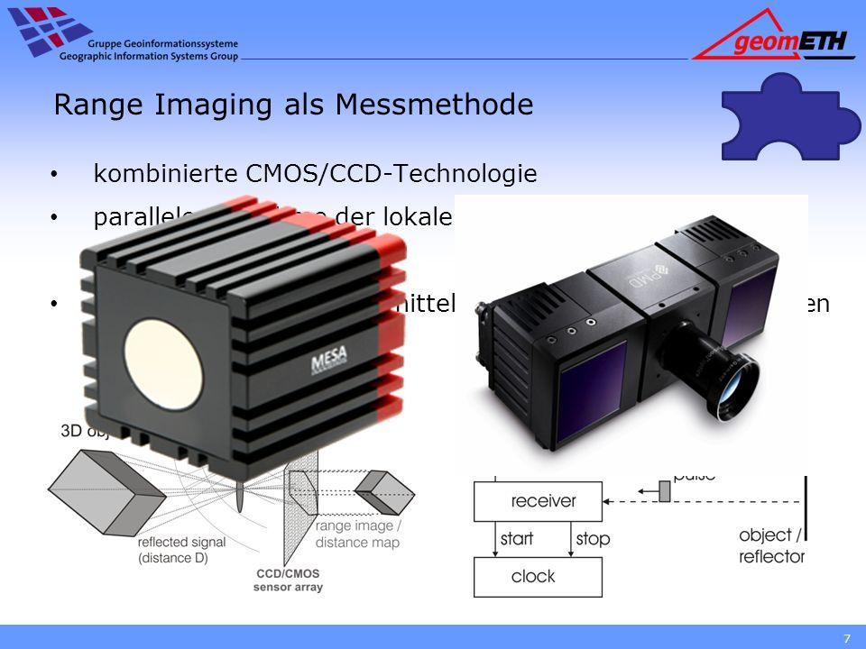 Range Imaging als Messmethode Tiefenbild durch detektierten Phasenversatz Signalabgriff an vier Punkten zum Bestimmen von Offset, Amplitude und Phase 8 D = D max * φ/2π