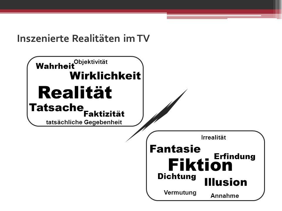 Inszenierte Realitäten im TV Tatsache Wirklichkeit Realität Faktizität Wahrheit Objektivität tatsächliche Gegebenheit Fantasie Illusion Erfindung Dich