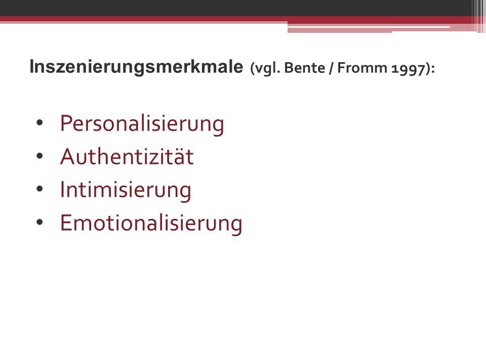 Inszenierungsmerkmale (vgl. Bente / Fromm 1997): Personalisierung Authentizität Intimisierung Emotionalisierung