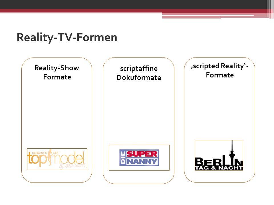 scriptaffine Dokuformate scripted Reality- Formate Reality-Show Formate Reality-TV-Formen