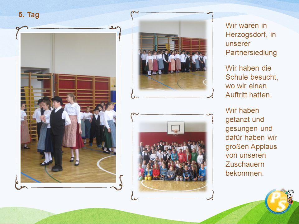 Wir waren in Herzogsdorf, in unserer Partnersiedlung Wir haben die Schule besucht, wo wir einen Auftritt hatten. Wir haben getanzt und gesungen und da