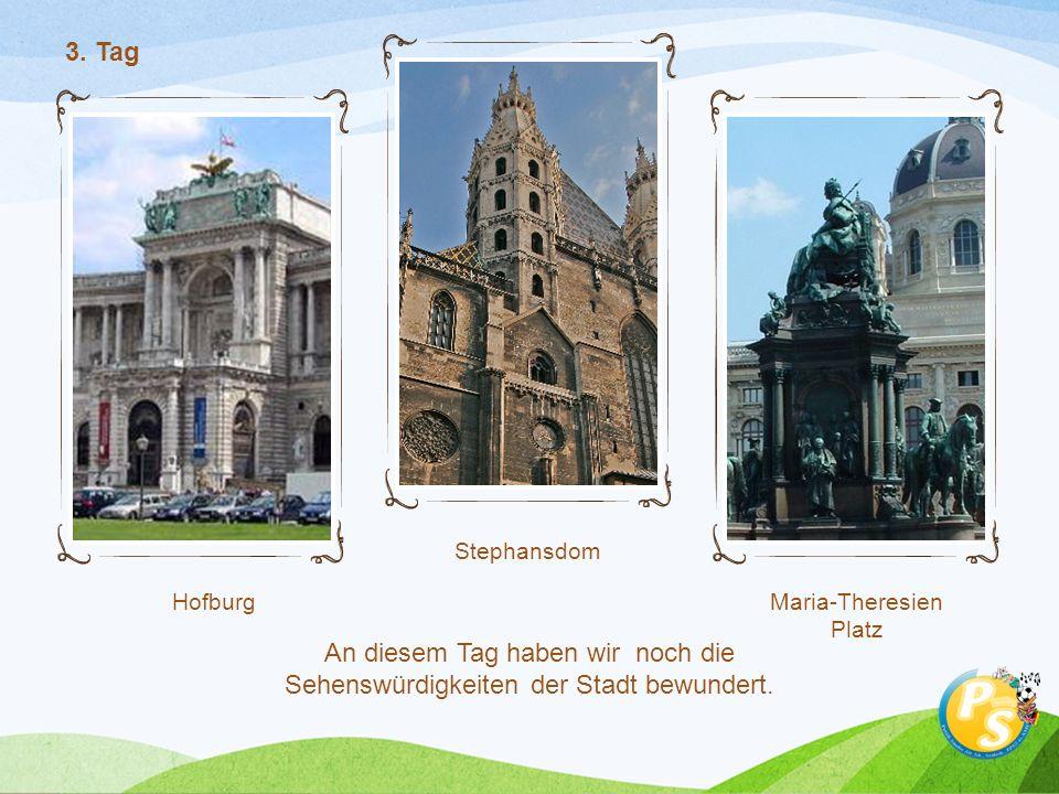 Hofburg Stephansdom Maria-Theresien Platz 3. Tag An diesem Tag haben wir noch die Sehenswürdigkeiten der Stadt bewundert.