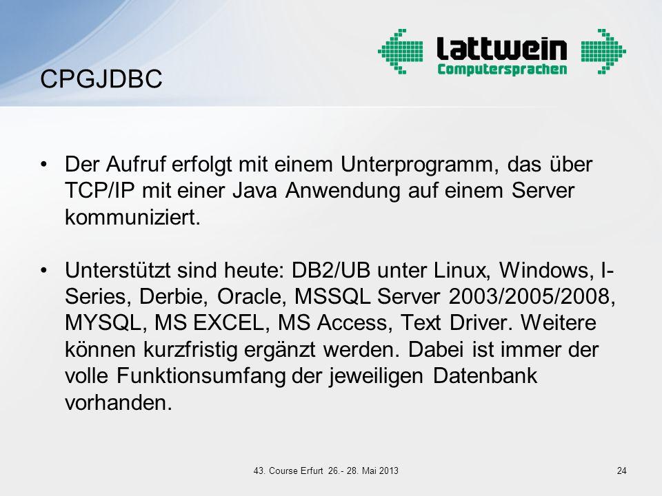 Der Aufruf erfolgt mit einem Unterprogramm, das über TCP/IP mit einer Java Anwendung auf einem Server kommuniziert. Unterstützt sind heute: DB2/UB unt