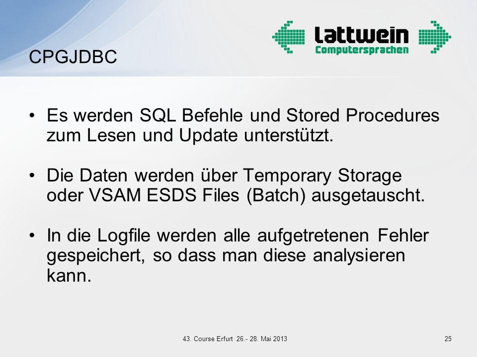 Es werden SQL Befehle und Stored Procedures zum Lesen und Update unterstützt. Die Daten werden über Temporary Storage oder VSAM ESDS Files (Batch) aus