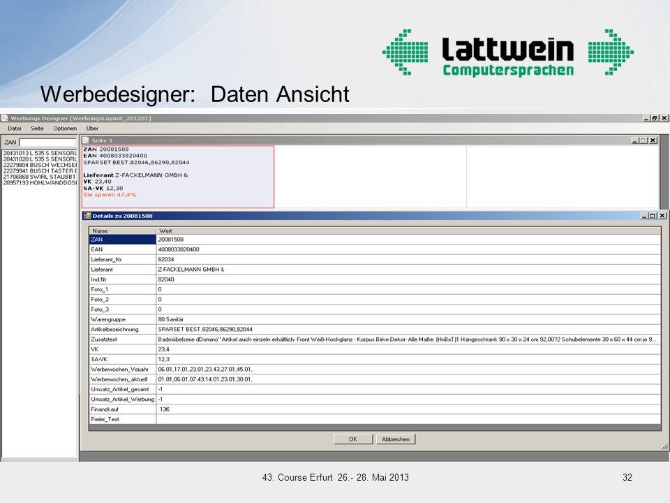 Werbedesigner: Daten Ansicht 3243. Course Erfurt 26.- 28. Mai 2013