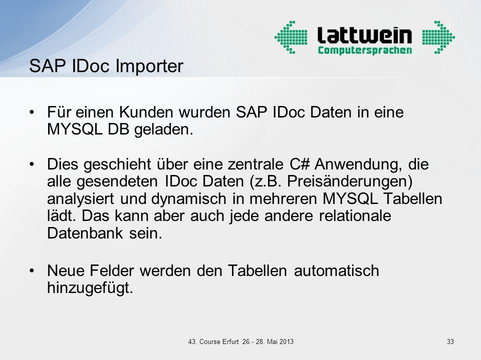 Für einen Kunden wurden SAP IDoc Daten in eine MYSQL DB geladen. Dies geschieht über eine zentrale C# Anwendung, die alle gesendeten IDoc Daten (z.B.
