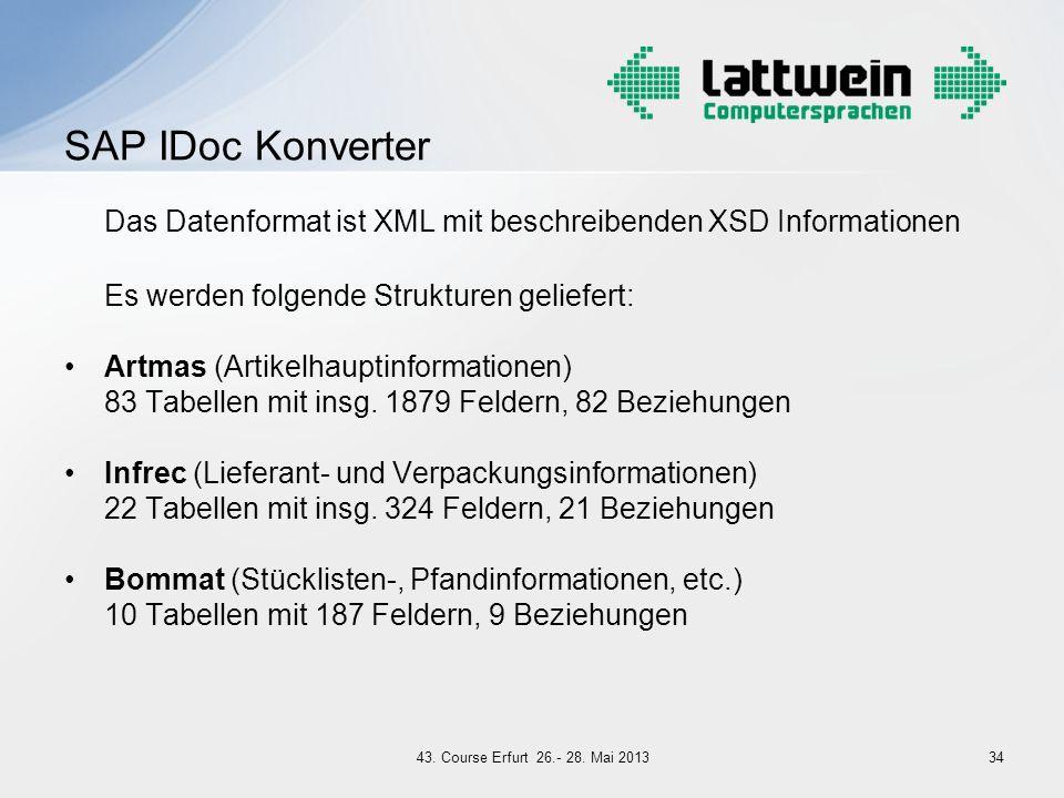 Das Datenformat ist XML mit beschreibenden XSD Informationen Es werden folgende Strukturen geliefert: Artmas (Artikelhauptinformationen) 83 Tabellen m