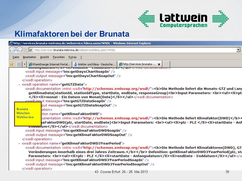 Brunata München WebService Klimafaktoren bei der Brunata 3943. Course Erfurt 26.- 28. Mai 2013