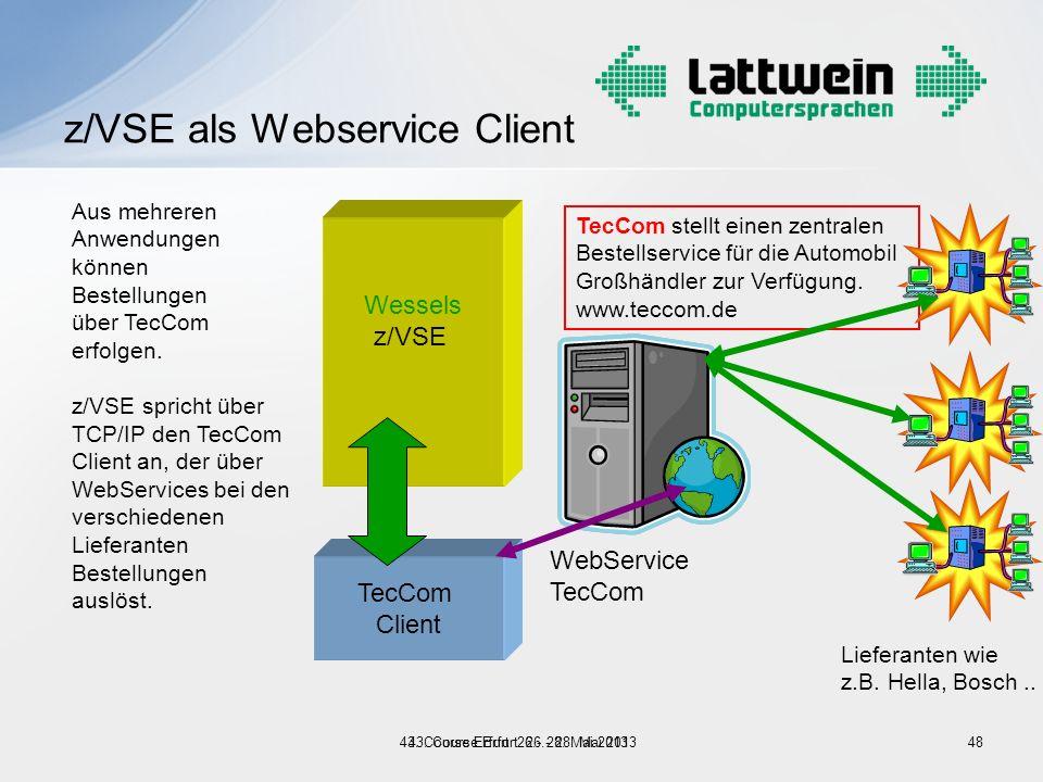 48 TecCom Client z/VSE als Webservice Client Wessels z/VSE TecCom stellt einen zentralen Bestellservice für die Automobil Großhändler zur Verfügung. w