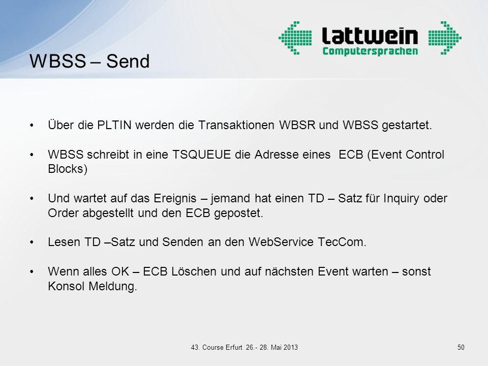 Über die PLTIN werden die Transaktionen WBSR und WBSS gestartet. WBSS schreibt in eine TSQUEUE die Adresse eines ECB (Event Control Blocks) Und wartet