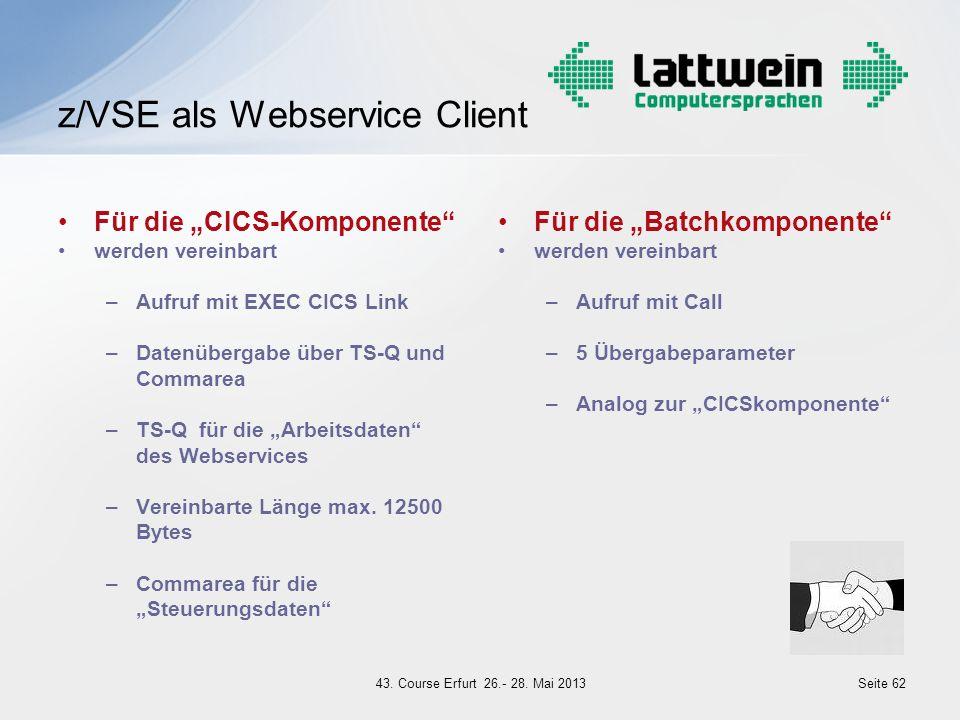 Für die CICS-Komponente werden vereinbart –Aufruf mit EXEC CICS Link –Datenübergabe über TS-Q und Commarea –TS-Q für die Arbeitsdaten des Webservices