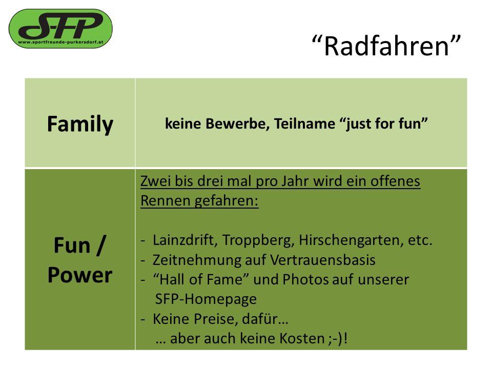 Radfahren Family keine Bewerbe, Teilname just for fun Fun / Power Zwei bis drei mal pro Jahr wird ein offenes Rennen gefahren: - Lainzdrift, Troppberg, Hirschengarten, etc.