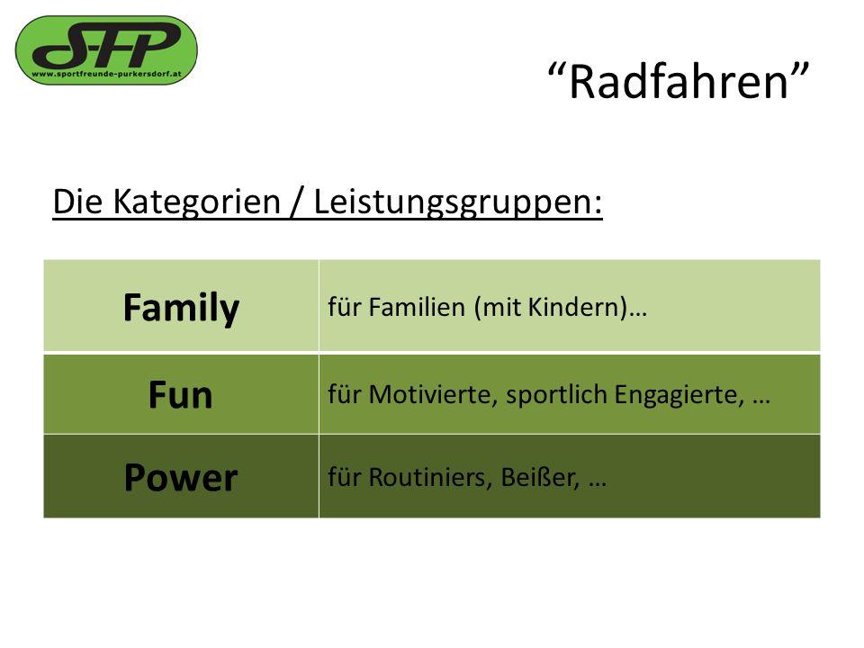 Radfahren Die Kategorien / Leistungsgruppen: Family für Familien (mit Kindern)… Fun für Motivierte, sportlich Engagierte, … Power für Routiniers, Beißer, …