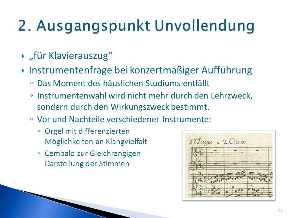 für Klavierauszug Instrumentenfrage bei konzertmäßiger Aufführung Das Moment des häuslichen Studiums entfällt Instrumentenwahl wird nicht mehr durch den Lehrzweck, sondern durch den Wirkungszweck bestimmt.