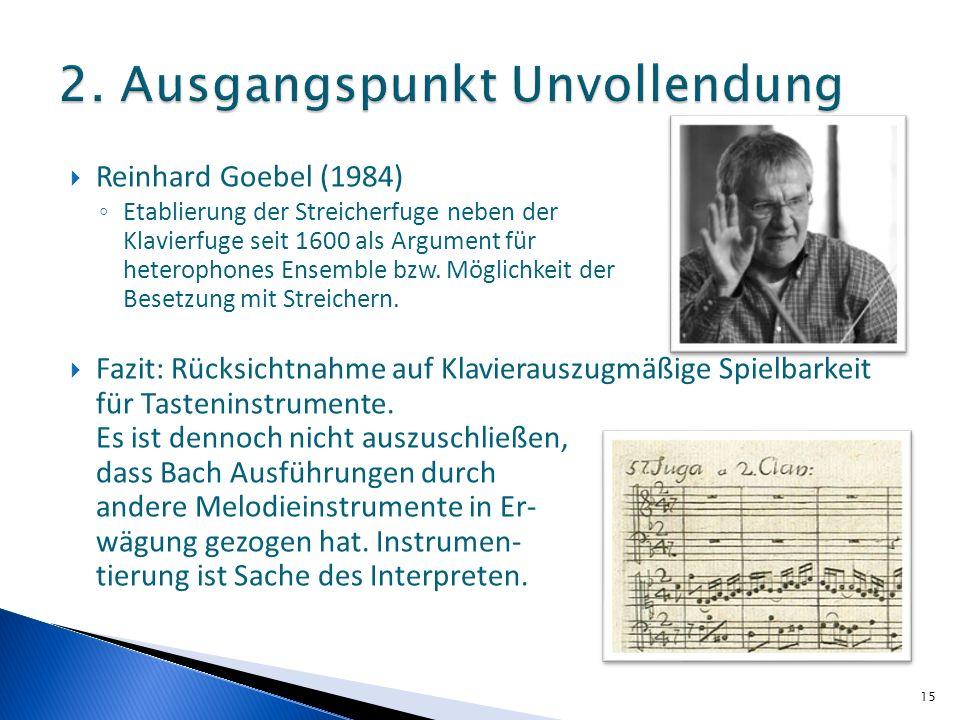 Reinhard Goebel (1984) Etablierung der Streicherfuge neben der Klavierfuge seit 1600 als Argument für heterophones Ensemble bzw. Möglichkeit der Beset