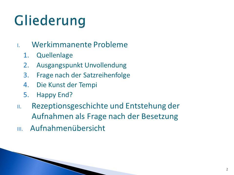 I. Werkimmanente Probleme 1.Quellenlage 2.Ausgangspunkt Unvollendung 3.Frage nach der Satzreihenfolge 4.Die Kunst der Tempi 5.Happy End? II. Rezeption