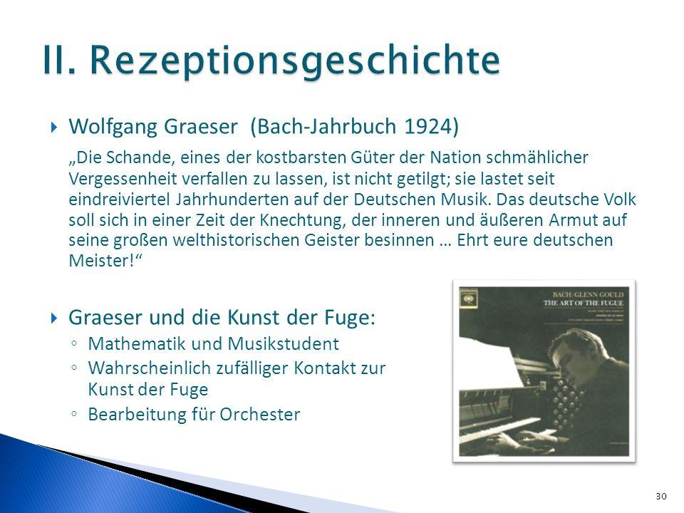 Wolfgang Graeser (Bach-Jahrbuch 1924) Die Schande, eines der kostbarsten Güter der Nation schmählicher Vergessenheit verfallen zu lassen, ist nicht getilgt; sie lastet seit eindreiviertel Jahrhunderten auf der Deutschen Musik.