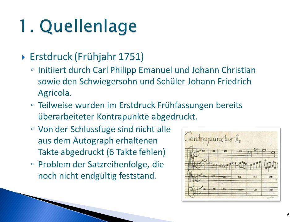 Erstdruck (Frühjahr 1751) Initiiert durch Carl Philipp Emanuel und Johann Christian sowie den Schwiegersohn und Schüler Johann Friedrich Agricola. Tei