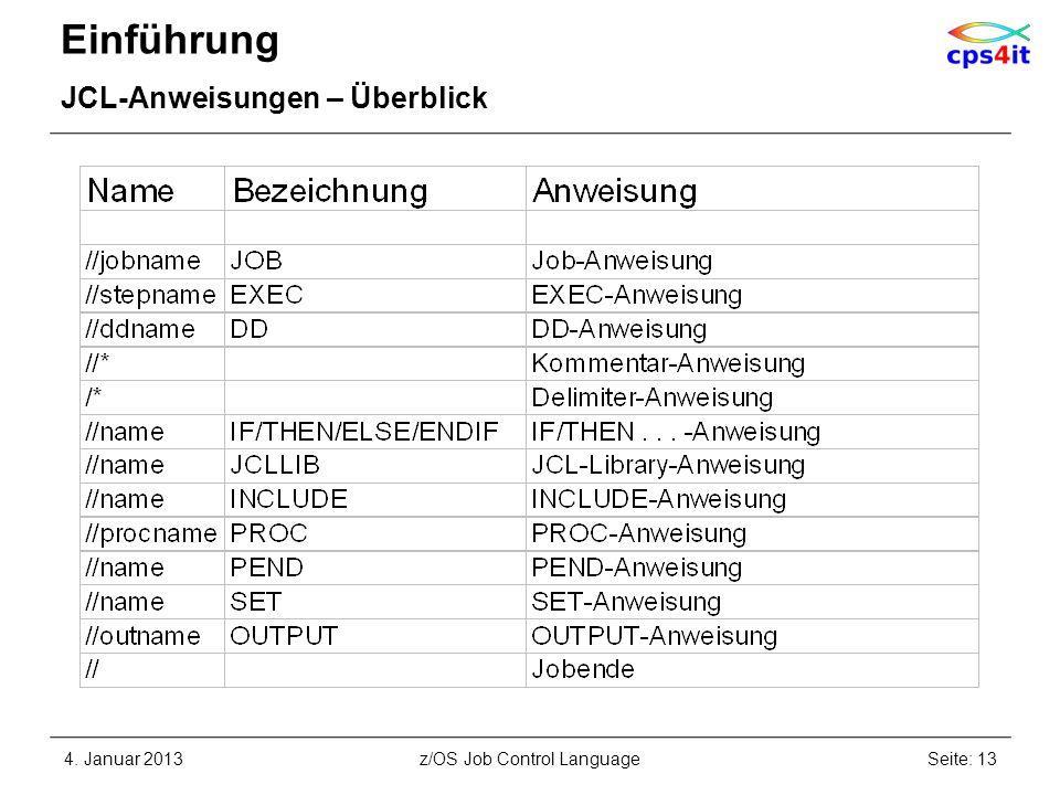 Einführung JCL-Anweisungen – Überblick 4. Januar 2013Seite: 13z/OS Job Control Language