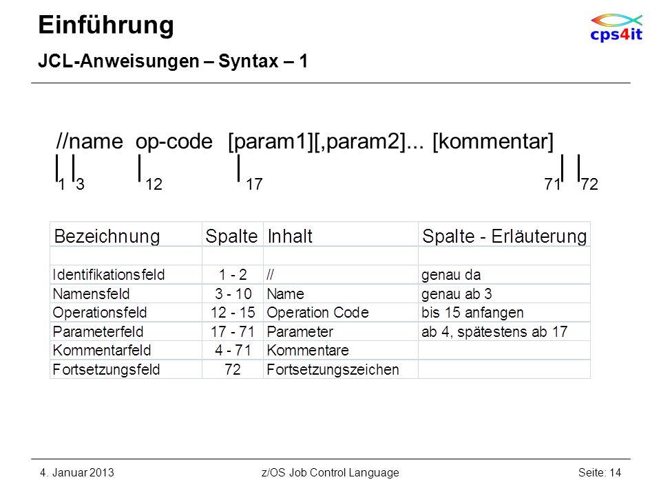 Einführung JCL-Anweisungen – Syntax – 1 4. Januar 2013Seite: 14z/OS Job Control Language //name op-code [param1][,param2]... [kommentar] 1 3 12 17 71