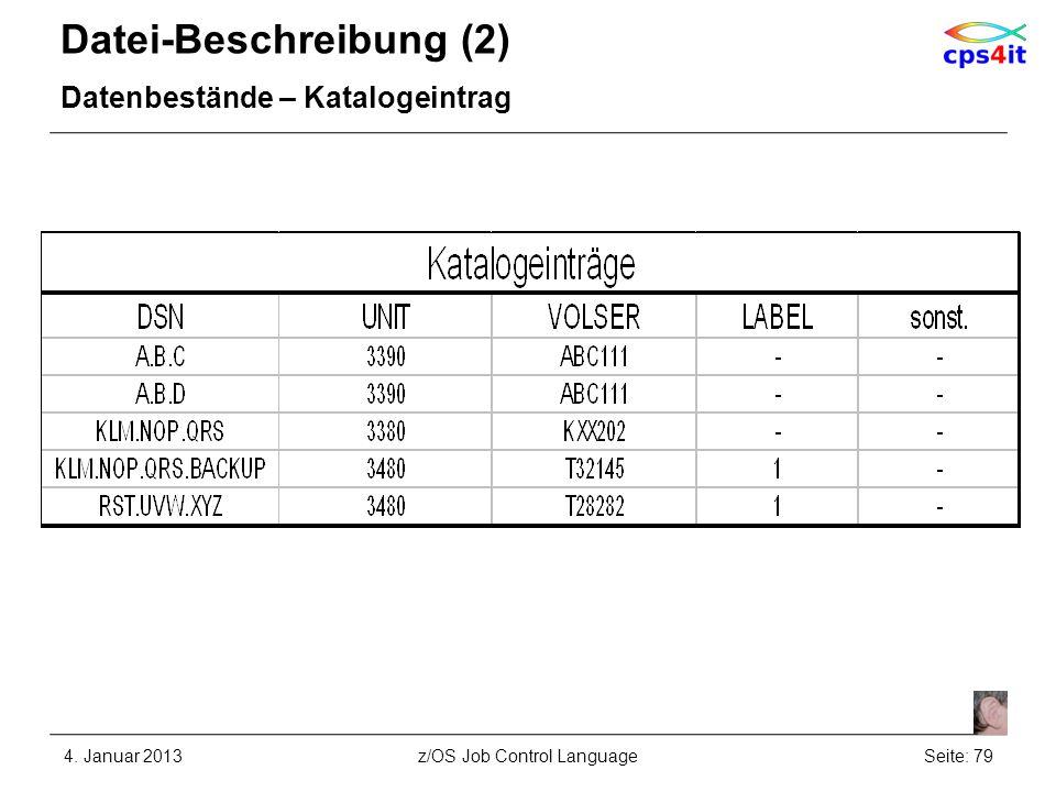 Datei-Beschreibung (2) Datenbestände – Katalogeintrag 4. Januar 2013Seite: 79z/OS Job Control Language