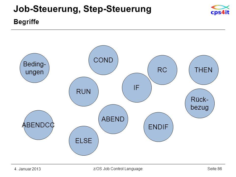 Job-Steuerung, Step-Steuerung Begriffe 4. Januar 2013Seite 86z/OS Job Control Language COND ABEND Rück- bezug RC ABENDCC Beding- ungen RUN ENDIF IF EL