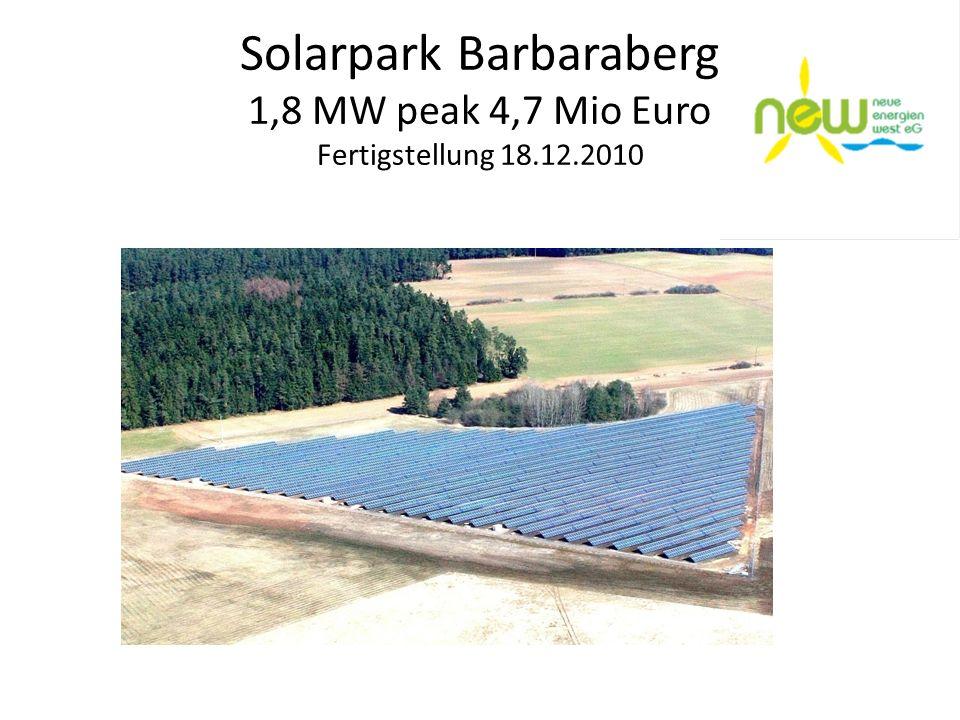 Solarpark Barbaraberg 1,8 MW peak 4,7 Mio Euro Fertigstellung 18.12.2010
