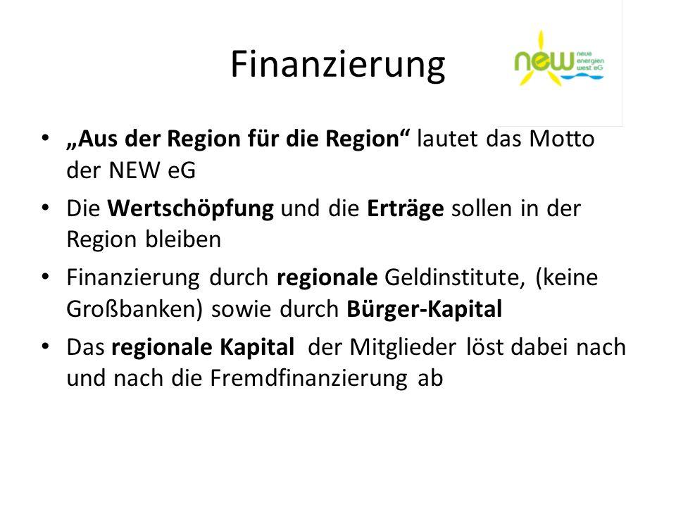 Finanzierung Aus der Region für die Region lautet das Motto der NEW eG Die Wertschöpfung und die Erträge sollen in der Region bleiben Finanzierung dur