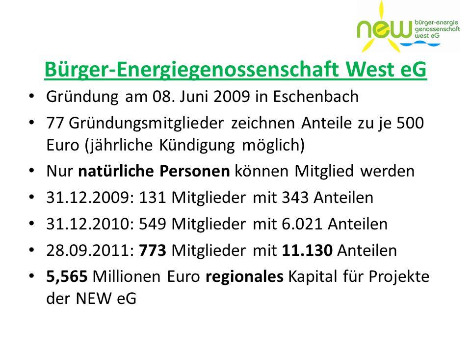 Bürger-Energiegenossenschaft West eG Gründung am 08. Juni 2009 in Eschenbach 77 Gründungsmitglieder zeichnen Anteile zu je 500 Euro (jährliche Kündigu