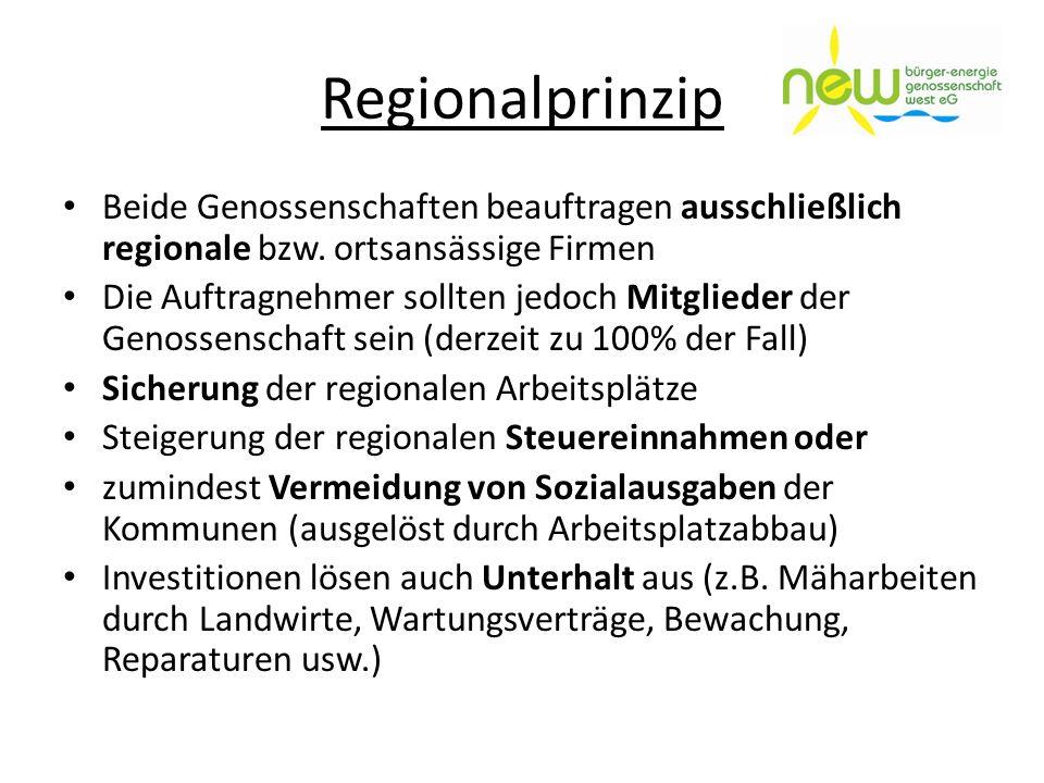 Regionalprinzip Beide Genossenschaften beauftragen ausschließlich regionale bzw. ortsansässige Firmen Die Auftragnehmer sollten jedoch Mitglieder der