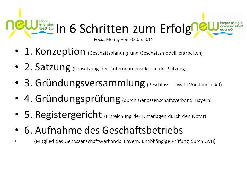 In 6 Schritten zum Erfolg Focus Money vom 02.05.2011 1. Konzeption (Geschäftsplanung und Geschäftsmodell erarbeiten) 2. Satzung (Umsetzung der Unterne