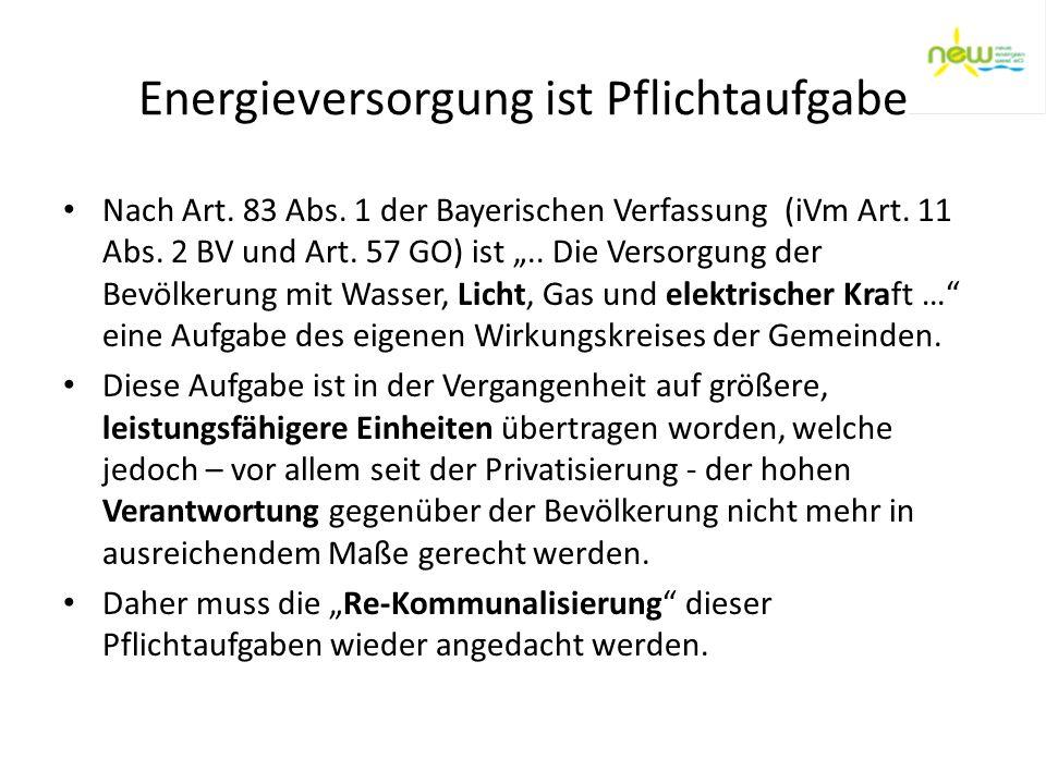 Energieversorgung ist Pflichtaufgabe Nach Art. 83 Abs. 1 der Bayerischen Verfassung (iVm Art. 11 Abs. 2 BV und Art. 57 GO) ist.. Die Versorgung der Be