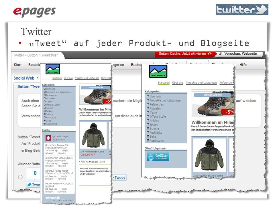 Twitter Tweet auf jeder Produkt- und Blogseite Letzte Tweets als Gadget