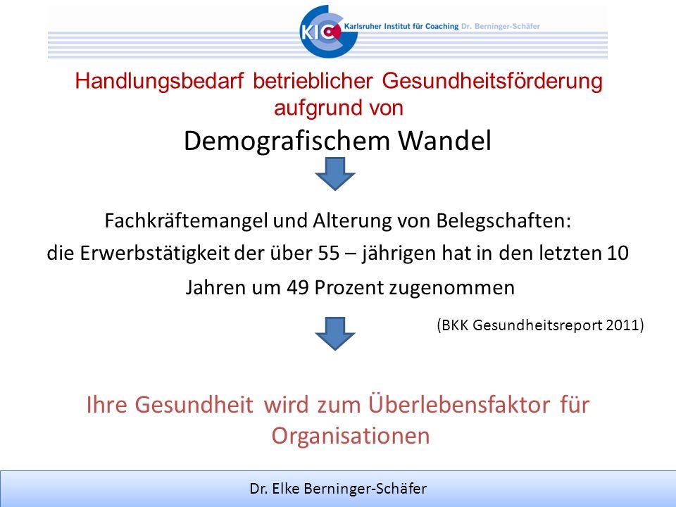 Dr. Elke Berninger-Schäfer Handlungsbedarf betrieblicher Gesundheitsförderung aufgrund von Demografischem Wandel Fachkräftemangel und Alterung von Bel