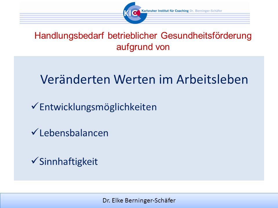 Dr. Elke Berninger-Schäfer Handlungsbedarf betrieblicher Gesundheitsförderung aufgrund von Veränderten Werten im Arbeitsleben Entwicklungsmöglichkeite