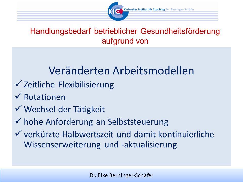 Dr. Elke Berninger-Schäfer Handlungsbedarf betrieblicher Gesundheitsförderung aufgrund von Veränderten Arbeitsmodellen Zeitliche Flexibilisierung Rota