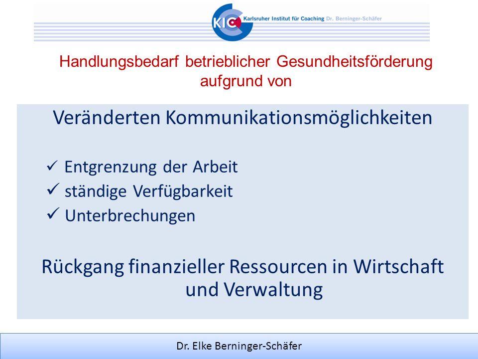 Dr. Elke Berninger-Schäfer Handlungsbedarf betrieblicher Gesundheitsförderung aufgrund von Veränderten Kommunikationsmöglichkeiten Entgrenzung der Arb