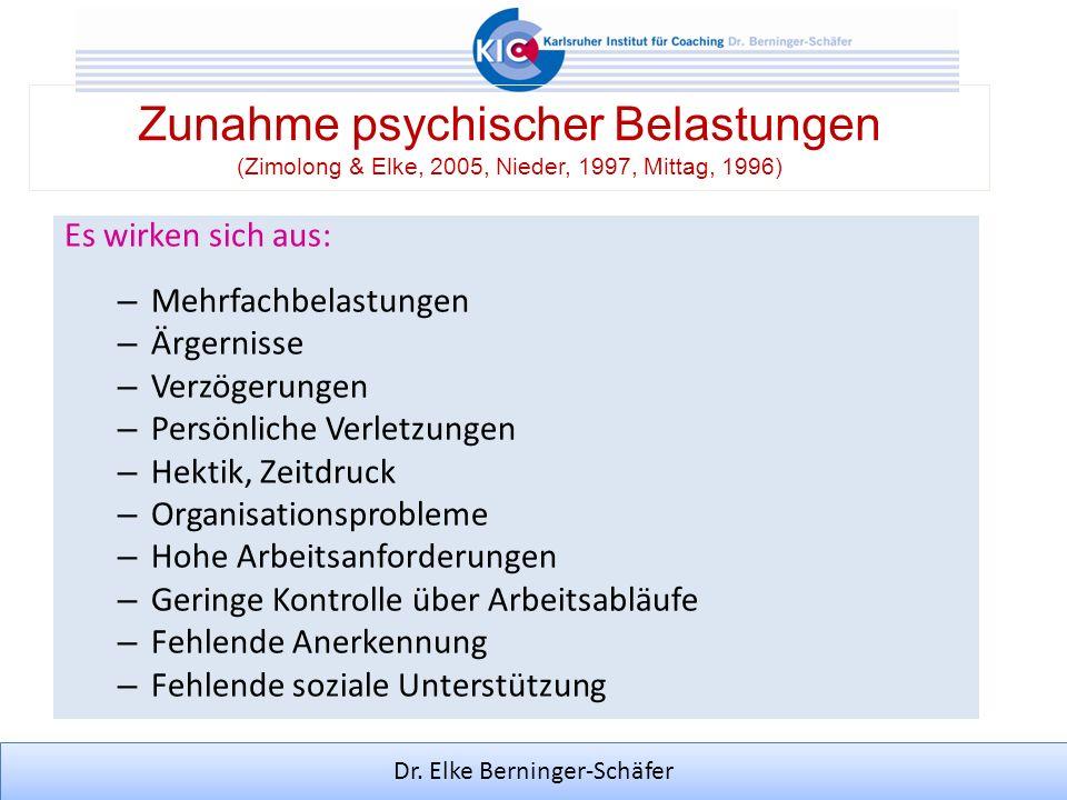 Dr. Elke Berninger-Schäfer Zunahme psychischer Belastungen (Zimolong & Elke, 2005, Nieder, 1997, Mittag, 1996) Es wirken sich aus: – Mehrfachbelastung