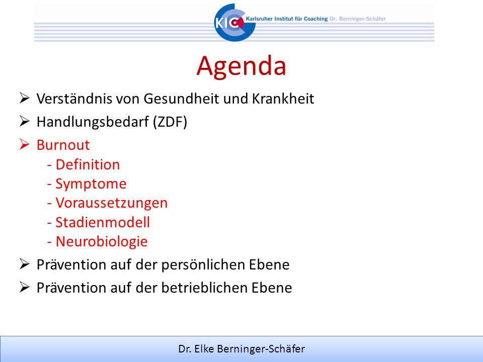 Dr. Elke Berninger-Schäfer Agenda Verständnis von Gesundheit und Krankheit Handlungsbedarf (ZDF) Burnout - Definition - Symptome - Voraussetzungen - S