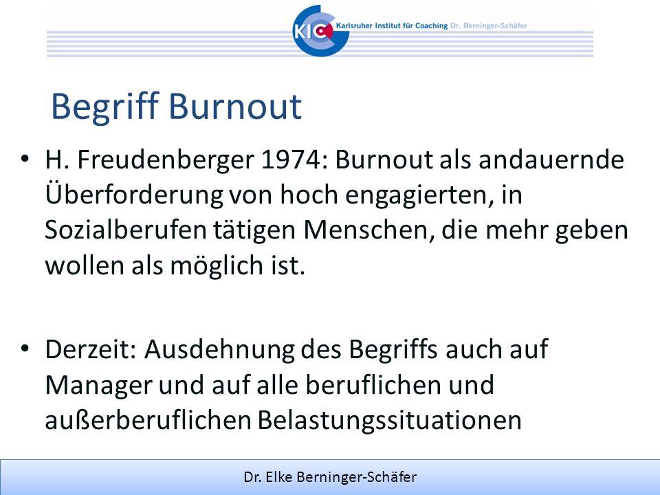 Dr. Elke Berninger-Schäfer Begriff Burnout H. Freudenberger 1974: Burnout als andauernde Überforderung von hoch engagierten, in Sozialberufen tätigen