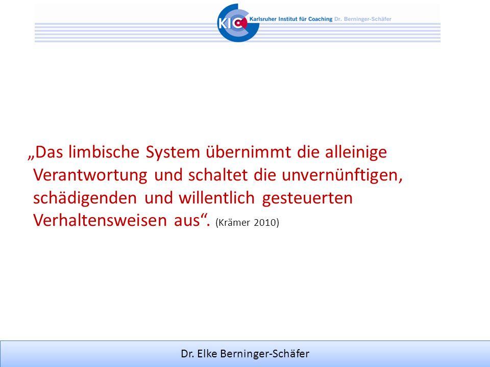 Dr. Elke Berninger-Schäfer Das limbische System übernimmt die alleinige Verantwortung und schaltet die unvernünftigen, schädigenden und willentlich ge