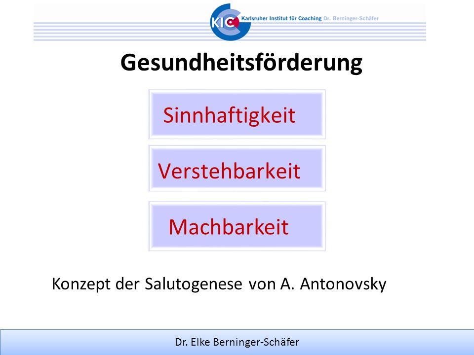 Dr. Elke Berninger-Schäfer Gesundheitsförderung Machbarkeit Konzept der Salutogenese von A. Antonovsky Sinnhaftigkeit Verstehbarkeit