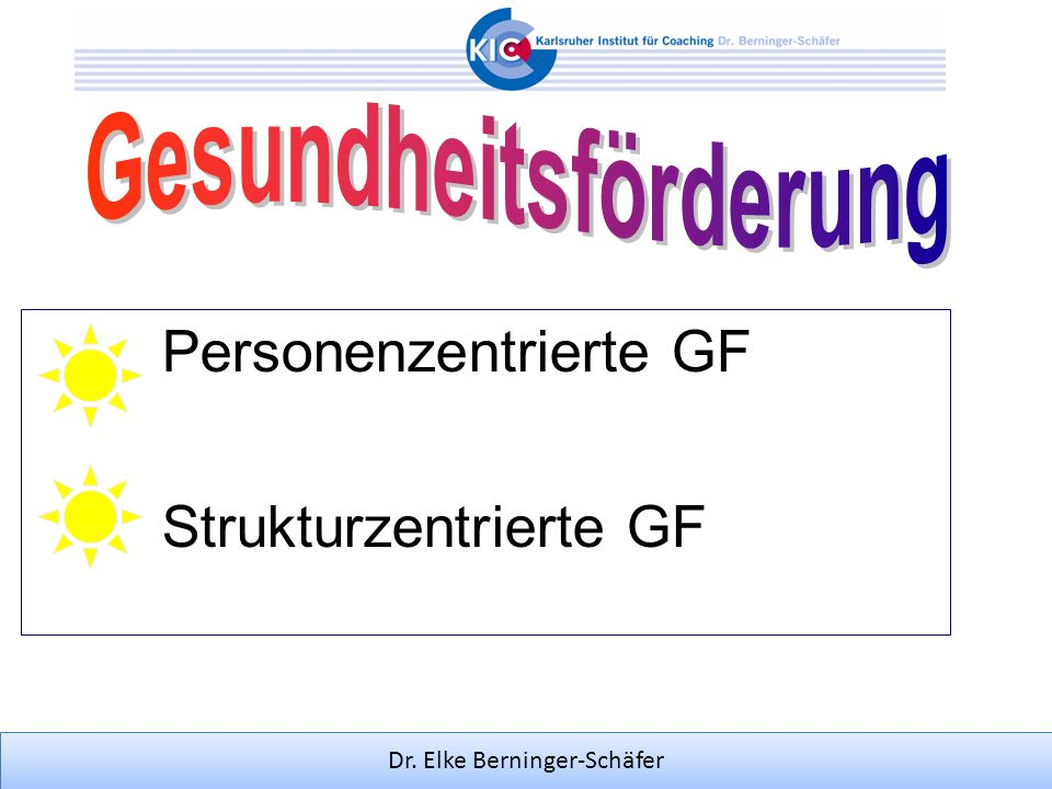Dr. Elke Berninger-Schäfer Personenzentrierte GF Strukturzentrierte GF