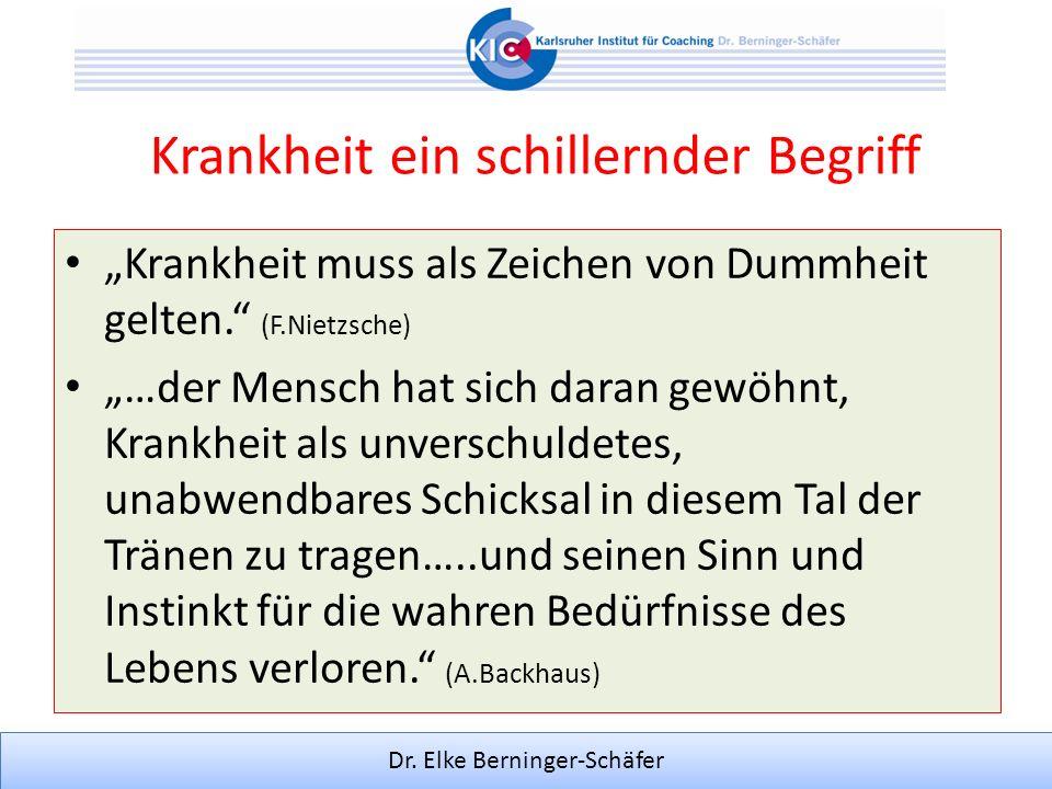 Dr. Elke Berninger-Schäfer Krankheit ein schillernder Begriff Krankheit muss als Zeichen von Dummheit gelten. (F.Nietzsche) …der Mensch hat sich daran