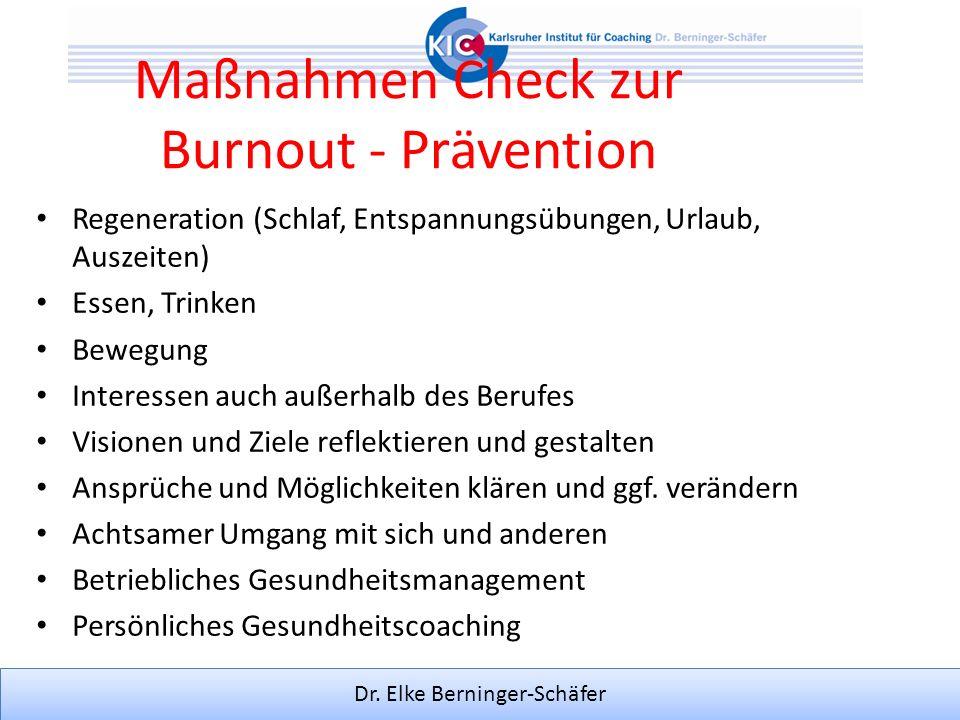 Dr. Elke Berninger-Schäfer Maßnahmen Check zur Burnout - Prävention Regeneration (Schlaf, Entspannungsübungen, Urlaub, Auszeiten) Essen, Trinken Beweg