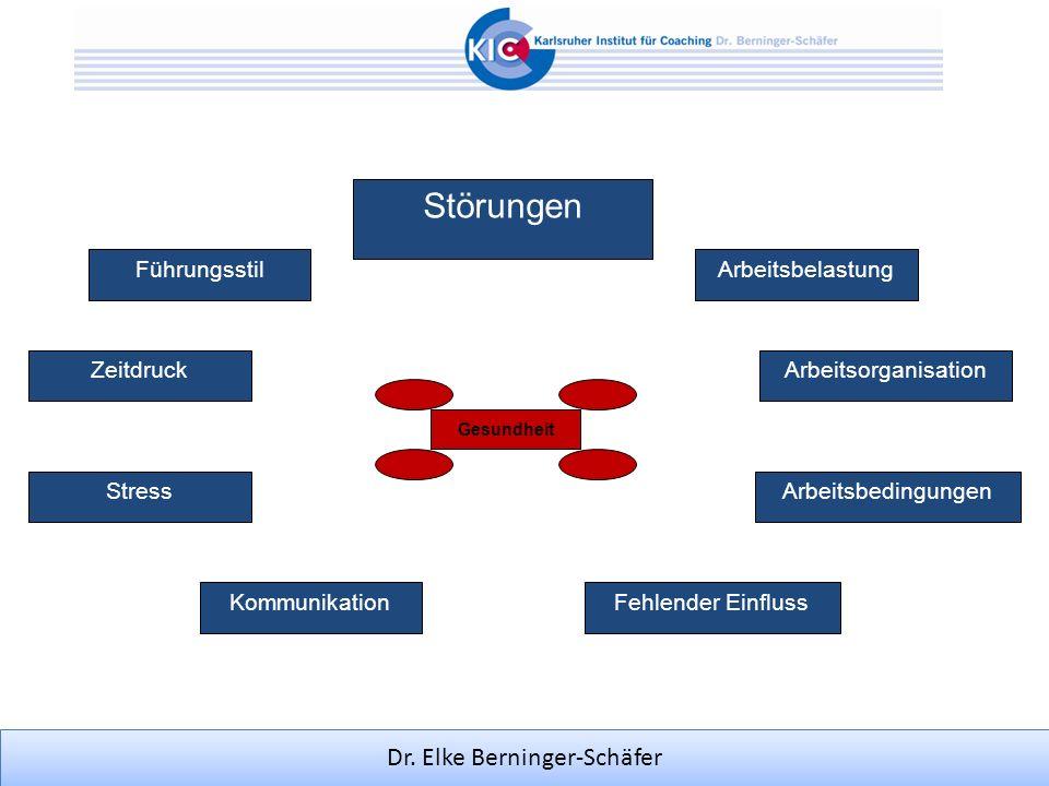 Dr. Elke Berninger-Schäfer Störungen Gesundheit Arbeitsbelastung ArbeitsorganisationZeitdruck ArbeitsbedingungenStress Fehlender Einfluss Führungsstil