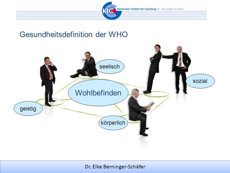 Dr. Elke Berninger-Schäfer Gesundheitsdefinition der WHO Wohlbefinden körperlich seelisch geistig sozial