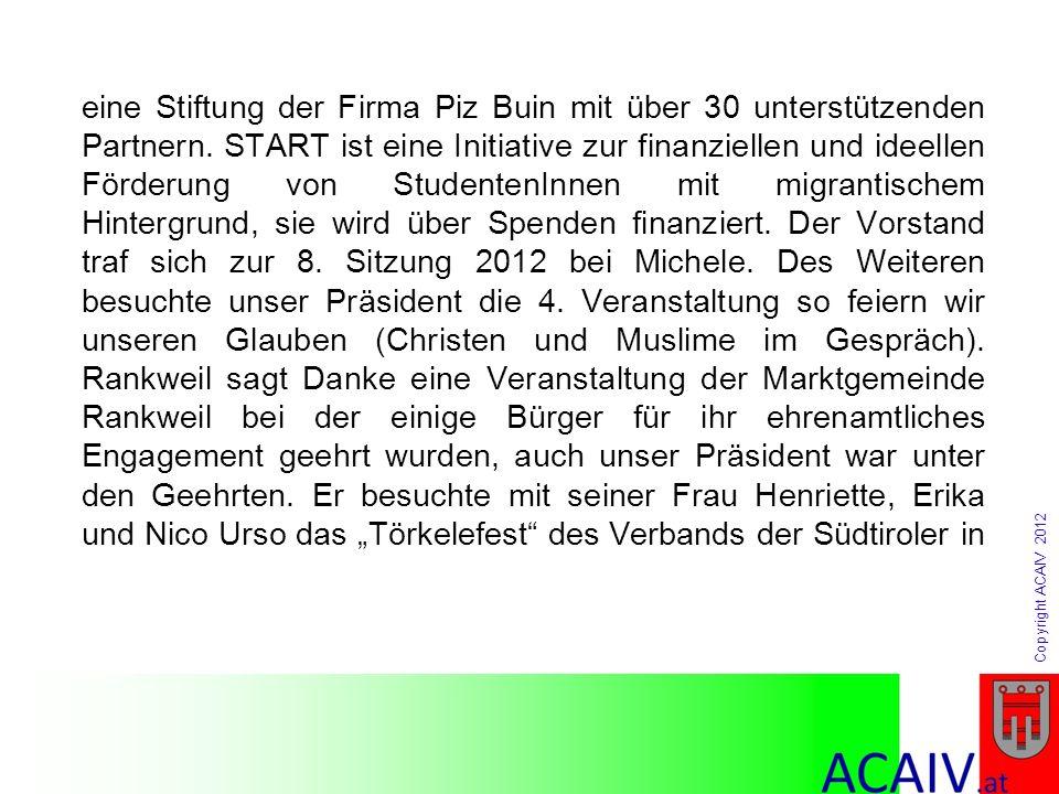 Copyright ACAIV 2012 eine Stiftung der Firma Piz Buin mit über 30 unterstützenden Partnern. START ist eine Initiative zur finanziellen und ideellen Fö