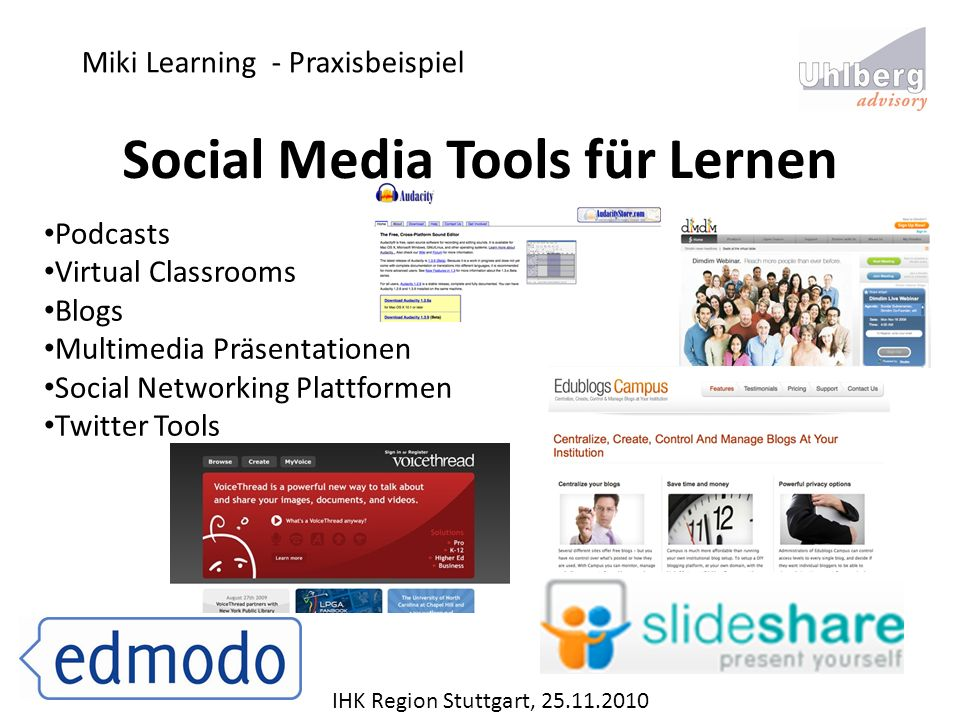 Miki Learning - Praxisbeispiel IHK Region Stuttgart, 25.11.2010 Social Media Tools für Lernen Podcasts Virtual Classrooms Blogs Multimedia Präsentatio